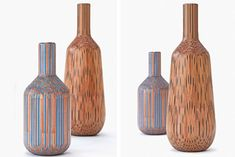 Finnish designer Tuomas Markunpoika creates gorgeous handcraft vases using common mass-produced pencils.