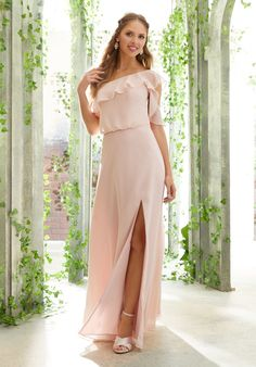 One Shoulder Chiffon Bridesmaid Dress with Flounced Sleeve Detail Mori Lee Bridesmaid Dresses, Tulle Bridesmaid Dress, Wedding Dresses, Wedding Bridesmaids, Prom Dresses, One Shoulder Bridesmaid, Gala Gowns, A Line Gown, Bridal Gowns