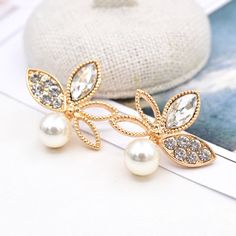 Zinc Alloy Stud Earring, with ABS Plastic Pearl & Crystal, stainless steel post pin, Flower, gold color plated, faceted & with rhinestone, more colors for choice, lead & cadmium free, 25mm,china wholesale jewelry beads