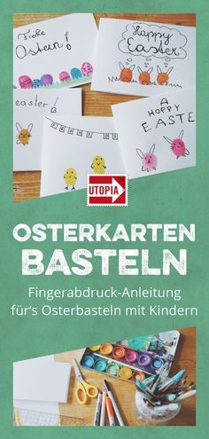 Osterkarten basteln – Fingerabdruck-Anleitung fürs Osterbasteln mit Kindern Easter greetings tinker with children! These Easter cards are easy to make with the fingerprint technique. Diy Easter Cards, Easter Gift, Happy Easter, Amusement Enfants, Holiday Break, Diy Hacks, Pin Collection, Easter Eggs, Easter Play