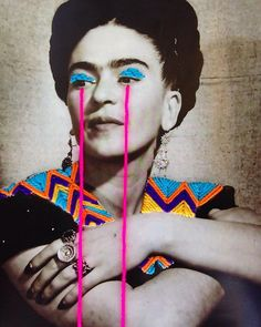 No crying Jordan face. Frida Khalo Art by Victoria Villasana. Collages, Collage Art, Diy Embroidery, Portrait Embroidery, Victoria, A Level Art, Arte Pop, Color Photography, Aesthetic Pictures