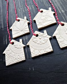5 Christmas Decorations White Ceramic Christmas Tree House Ornaments Holiday Decor Porcelain Little Houses with Vintage Lace Texture Ceramic Christmas Decorations, Ceramic Christmas Trees, House Decorations, Holiday Decor, Holiday Gifts, House Ornaments, Clay Ornaments, Handmade Christmas, Christmas Diy