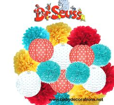 DR SEUSS Deluxe Party Decorations - Paper Lantern & Tissue Pom Kit -  Aqua Blue, Red, Yellow, Polka Dot - Birthday Party, Baby Shower - http://www.babydecorations.net/dr-seuss-deluxe-party-decorations-paper-lantern-tissue-pom-kit-aqua-blue-red-yellow-polka-dot-birthday-party-baby-shower.html