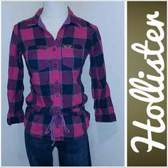 Hollister Flannel Top! Gently used Hollister flannel top.  Pink and blue plaid.  All buttons intact.  3/4 sleeves.  Drawstring tie at waist.  Women's/Junior's sx xsm.  Great condition.  No rips, stains, or tears.  From smoke free home.  :-) Hollister Tops Blouses