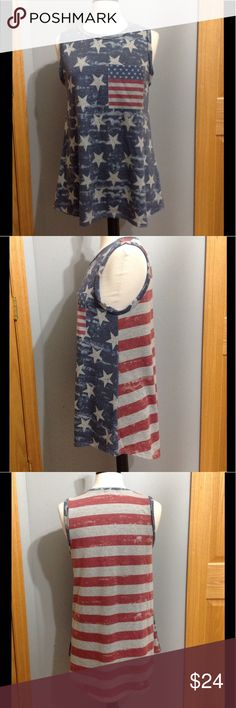 "Vintage Inspired Patriotic Top EUC Very soft knit fabric. Worn once. Shoulder to hem, front 29"", back 32"". 12 Pm By Mon Ami Tops Tank Tops"