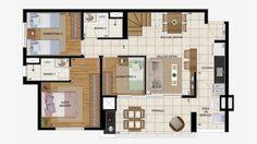 Apto de 78 m² com 3 dorms.
