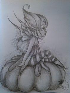 fe on his pumpkin & elveslestronches& Fairy Drawings, Cute Drawings, Drawing Sketches, Emoji Coloring Pages, Fairy Coloring Pages, Elfen Tattoo, Fairy Sketch, Flower Art Drawing, Elves And Fairies