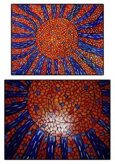 Sun burst- orange and blue