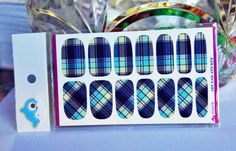 nailsBlue Plaid Nail wrapBlue Nail Decal2 pack by GlamourFavor