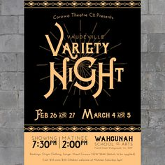 Designs | Poster for Vaudeville, Music Hall Variety Night | Postcard, Flyer & Print contest