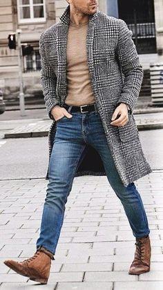 Look de moda  Abrigo largo de pata de gallo en negro y blanco 25ca2b6b7457