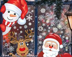 Christmas Window Cling Decals Santa & Reindeer - Christmas Decorations Holiday Decor Christmas Decor Winter Snow Noel Winter Wonderland
