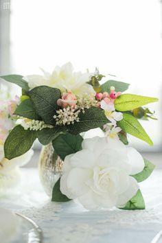 White wedding flower centrepiece! Silver mercury votive! SERENITY BLUE SPRING WEDDING THEME www.elegantwedding.ca