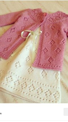 very nice dress for kids . You must look this sweet dress . i want knitting this :) what a nice kids dress knitting Diy Crafts Knitting, Knitting For Kids, Hand Knitting, Baby Cardigan Knitting Pattern Free, Baby Knitting Patterns, Crochet Patterns, Knit Baby Dress, Baby Sweaters, Knit Crochet