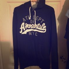 Men's Aeropostale Hoodie Black men's Aeropostale hoodie with number 87 on hood. Size large, worn a couple times just taking up space Aeropostale Jackets & Coats