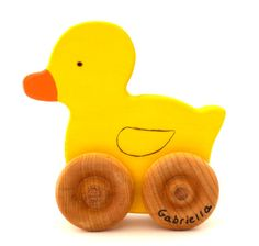 Personalized Wooden Toy Duck - Push Toy - Waldorf Animal - Toddler Toy - Easter - ETSY