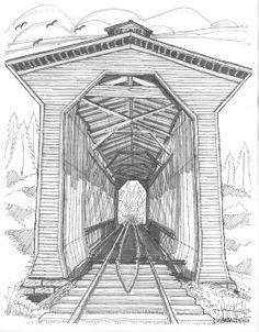 Fisher Railroad Covered Bridge by Richard Wambach Bridge Drawing, Architecture Drawing Art, Covered Bridges, Drawing Techniques, Fisher, Fine Art America, Art Drawings, Wall Art, Wood Burning