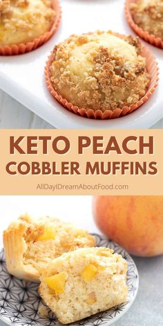 These delicious almond flour muffins are chockfull of juicy fresh peaches and have a delicious streusel crumb topping. It's the latest in a long line of delicious keto muffin recipes! Low Carb Bread, Low Carb Keto, Low Carb Recipes, Keto Bread, Sugar Free Desserts, Keto Desserts, Keto Snacks, Low Carb Deserts, Low Carb Sweets
