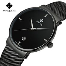 Fashion Simple Stylish Luxury brand WWOOR Watches Men Stainless Steel Mesh Strap Thin Dial Clock Man Casual Quartz-watch Black(China (Mainland))