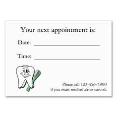 Business Cards For Dentists Business Cards For Dental Clinics - Business card appointment template