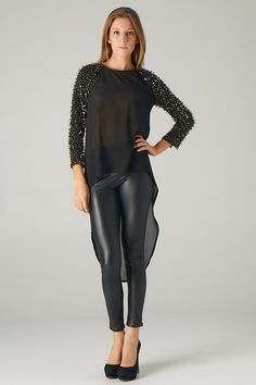 Hi-Lo Long Sleeve Top with Hand-Sewn Beads (Black) - Front