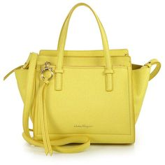 Salvatore Ferragamo Amy Small Soft Leather Tote (€1.110) ❤ liked on Polyvore featuring bags, handbags, tote bags, apparel & accessories, mimosa, zip top leather tote, yellow leather purse, pocket tote, leather purse and leather tote bags
