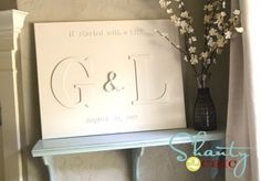 Monogram Chipboard Canvas via www.shanty-2-chic.com with step by step instructions and photos