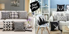THE (NOT SO) BASIC BLACK & WHITE DÉCOR Different Styles, Color Combinations, Couch, Contemporary, Black And White, Floral, Blog, Furniture, Home Decor