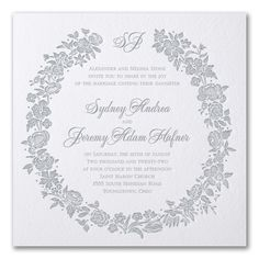 Rosy Wreath - Invitation. Available to order at Persnickety Invitation Studio.