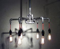 Industrial Iron 6-Bulb Chandelier, via Etsy.