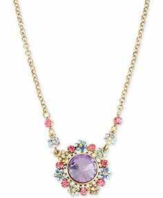 Betsey Johnson Gold-Tone Colorful Crystal Pendant Necklace