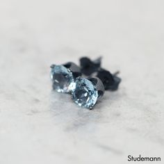 Sky Blue Topaz Oxidized Sterling Silver Ear Stud by Studemann