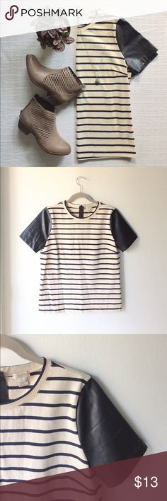J. Crew | Striped Tee Striped top with faux leather sleeves from J. Crew. Size small. Zippers open and close in the back. Materials: 100% cotton. 📬Fast Shipping📬 🥂10% off 2+ items🥂 J. Crew Tops Tees - Short Sleeve