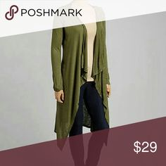 Curvy Posh Olive Cardi For the posh fabulous curvy ladies! Soft olive cardigan. Looks great with leggings and a statement necklace. 96% Cotton 4% Spandex. Canari USA Sweaters Cardigans