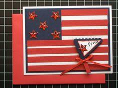 Handmade PaperArt Freedom Flag Greeting Card by LeasTreasures, $4.00