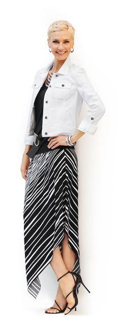 Fit to Print: Painted Stripe Addie Skirt. #DestinationFabulous #travel #spring #chicos