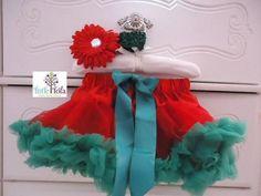 Free shipping! Baby Girl Christmas  Holiday Tutu Petti skirt and Headband Set on Etsy, $23.00