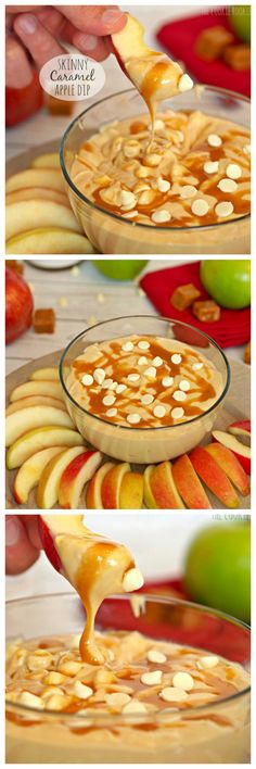 Skinny Caramel Apple Dip.      8-ounce package low-fat cream cheese, softened ½ a tub (about 6 ounces) fat-free or light Cool Whip ½ cup white chocolate chips 1 16 ounce jar of your favorite caramel sauce (I love Salted Caramel by Smuckers) Apple slices, for dipping