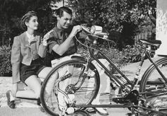 Barbara Hutton and husband, Cary Grant with a bicycle