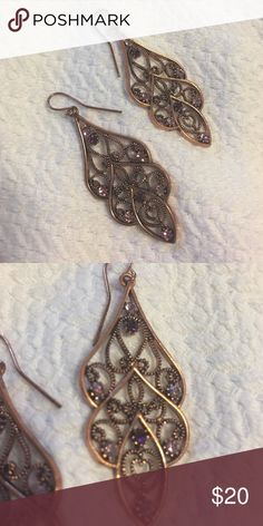 Copper & Purple earrings. Copper with purple stone dangle earrings. Never worn. Came from Dillard's. Accessories