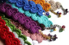 Wristlet - Handmade  Bracelet With Evil Eye - Crochet Bracelet - Gray Blue Red Orange Pink Purple White Brown Green