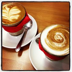 Our #Bondi #Chai (right) with a soy latte at Cafe Bellissimo #CoffsHarbour #NSW #Australia