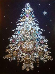 Vintage Rhinestone Jewelry Christmas Tree One of A Kind Creation Framed Art   eBay