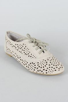 Cambrdige 04 lace Ups Cut Out Oxfords Flats Jazz GREY