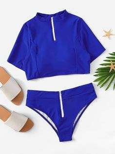 Find the latest swim and beachwear at ROMWE. Get ready for summer with the hottest styles including bikinis, tankinis, one-pieces and cover ups. Summer Bathing Suits, Cute Bathing Suits, Summer Swimwear, Bikini Swimwear, Romwe Swimwear, Swimwear Fashion, Bikini Fashion, Bikini Body Guide, Two Piece Swimwear