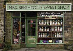 Mrs. Beighton's Sweet Shop   Haworth, England #shop #window #candy