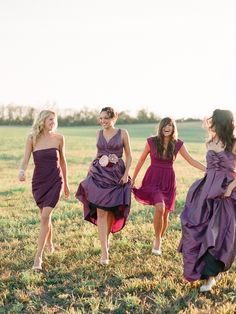 mismatched purple bridesmaids
