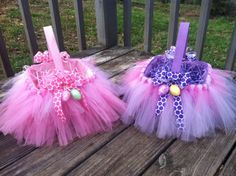Easy diy tutu easter basket easter baskets tutu and easter tulle easter baskets tutu easter baskets for twin girls negle Gallery