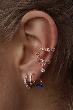 Rue Gembon Giane Rose Gold Plated Lapis Stud Ear Jacket