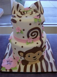 zebra monkey...I want this for when baby Shane is born, who can make it for me but with blue http://modernbabyshowers.blogspot.com